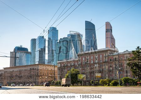 Moscow Russia - August 5, 2017: Bolshaya Dorogomilovskaya street in central Moscow. Skyscrapers of Moscow-City (Moscow International Business Center) in the background.