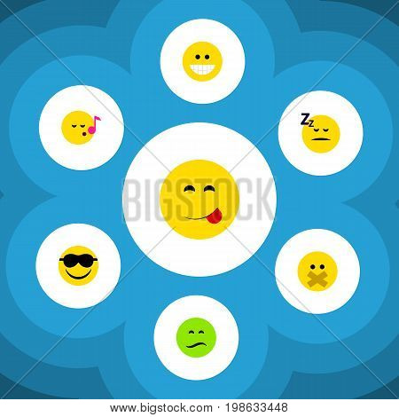 Flat Icon Emoji Set Of Frown, Happy, Grin And Other Vector Objects