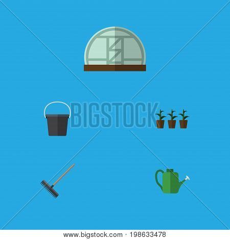 Flat Icon Farm Set Of Harrow, Hothouse, Pail And Other Vector Objects
