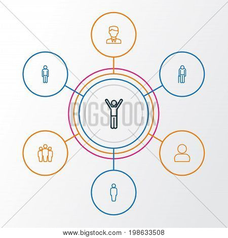 Person Outline Icons Set. Collection Of User, Graybeard, Team And Other Elements