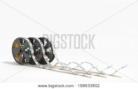 Diode Strip Led Lights Tape In Holder Close-up 3D Render On White