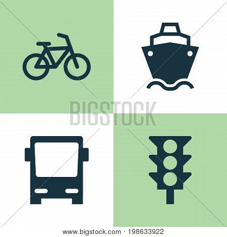 Shipment Icons Set. Collection Of Stoplight, Bicycle, Omnibus And Other Elements