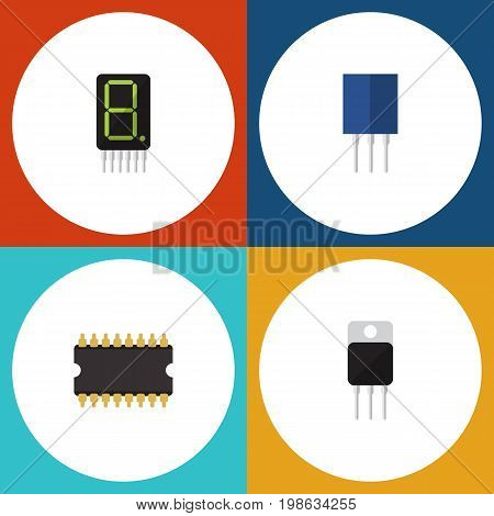 Flat Icon Technology Set Of Receiver, Receptacle, Display And Other Vector Objects