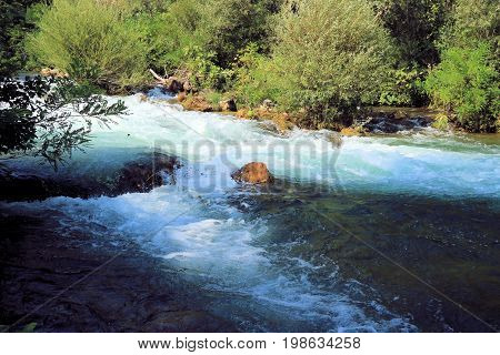rapids on the  Cetina river near the waterfall, Croatia