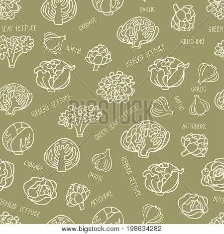 Seamless pattern with hand drawn vegetables. Perfect organic food pattern in line style with hand drawn lettering can use for wrapping paper bioproducts wallpaper organic background