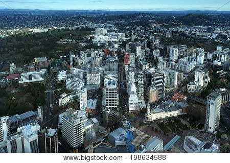 AUCKLAND - AUG 03 2017:Urban aerial view of Auckland city. Auckland is the biggest and most populated city in New Zealand.