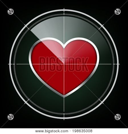 technology digital future cyber security love abstract background goal target radar screen aim red heart metal shape vector illustration.