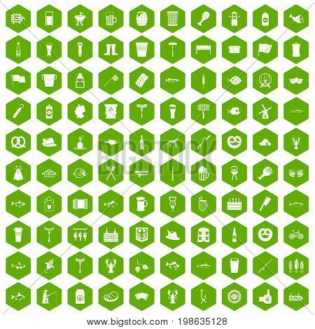 100 beer icons set in green hexagon isolated vector illustration
