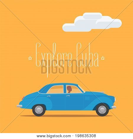 Cuban classic retro car vector illustration. Concept design for travel to Cuba with traditional for country's streets american car
