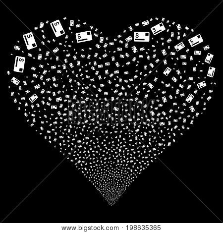 Credit Card fireworks with heart shape. Vector illustration style is flat white iconic symbols on a black background. Object heart organized from confetti symbols.