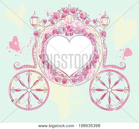 Wedding carriage heart shaped decorated with roses. Wedding invitation template vector illustration