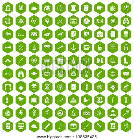 100 binoculars icons set in green hexagon isolated vector illustration