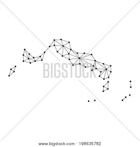 Turks and Caicos Islands map of polygonal mosaic lines network rays and dots vector illustration.