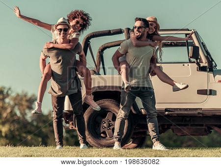 Friends Travelling By Car