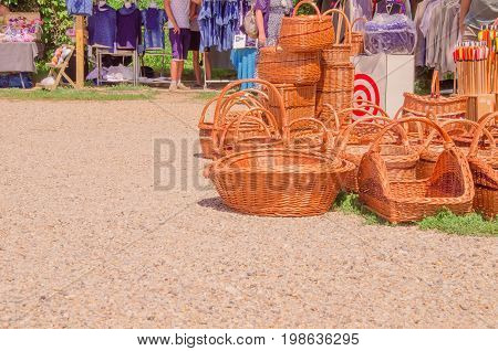 Bast Baskets At Flea Market