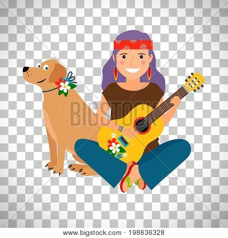 Hippie girl with guitar and dog isolated on transparent background, vector illustration