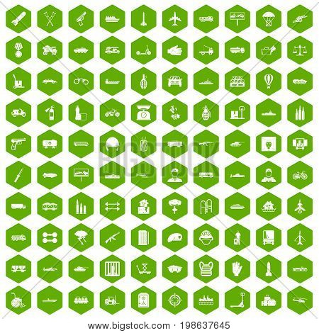 100 burden icons set in green hexagon isolated vector illustration