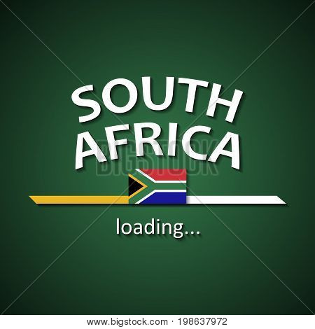 South Africa flag loading bar - tourism banner for travel agencies and for other different events