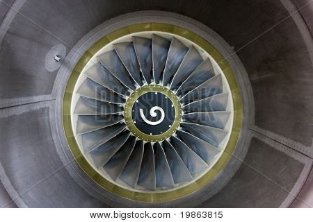 View into a the jet engine of a commercial airliner.