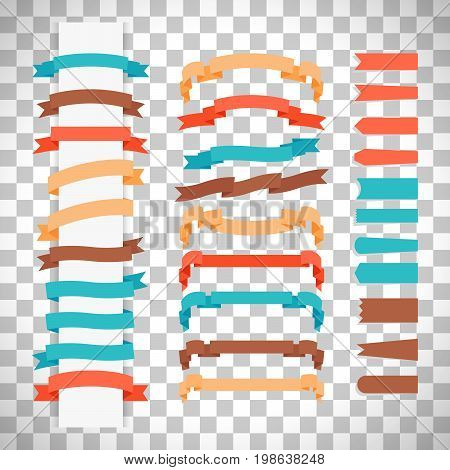 Vector ribbons in retro flat style isolated on transparent background