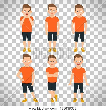 Boys different emotions vector illustration. Shocked and wonder standing kid, surprised and unhappy boy expressions isolated on transparent background