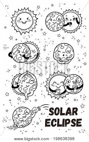 Solar Eclipse in phases. Cartoon moon does yoga when it completely covers the happy sun. Black and white coloring page illustration