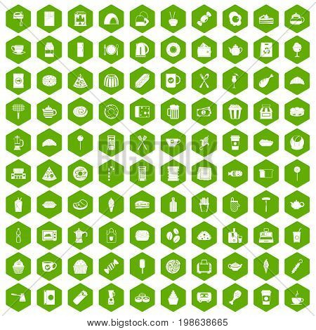 100 cafe icons set in green hexagon isolated vector illustration