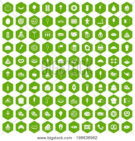 100 calories icons set in green hexagon isolated vector illustration