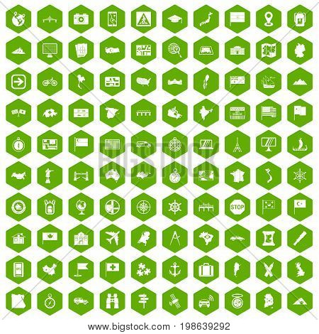 100 cartography icons set in green hexagon isolated vector illustration