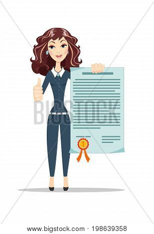 Woman with to a certificate. Stock vector illustration for poster, greeting card, website, ad, business presentation, advertisement design.