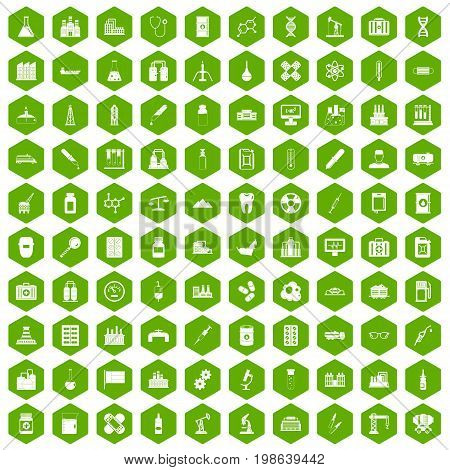 100 chemical industry icons set in green hexagon isolated vector illustration