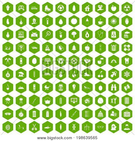 100 child health icons set in green hexagon isolated vector illustration