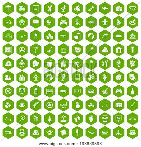 100 childhood icons set in green hexagon isolated vector illustration