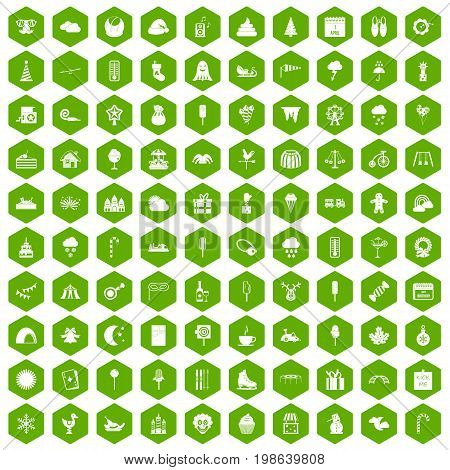 100 childrens parties icons set in green hexagon isolated vector illustration