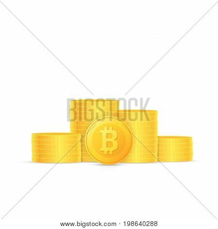 Stacks of coins. Crypto currency bitcoin is stacked. One coin stands on the edge. Vector illustration.