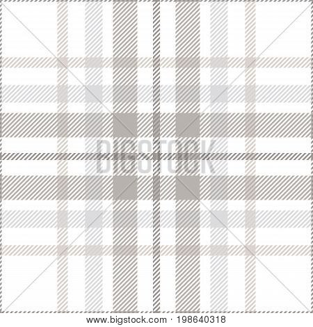 Seamless tartan plaid pattern. Traditional checker texture for digital textile printing. Stripes in shades of light gray on white background.