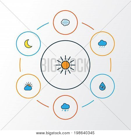 Climate Colorful Outline Icons Set. Collection Of Sunshine, Tornado, Tempest And Other Elements