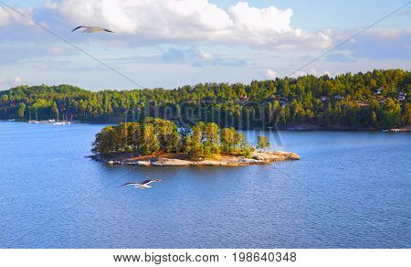 Panoramic view of the small islands in the archipelago of Stockholm. Sweden. Water landscape