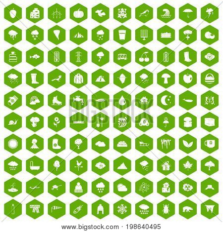 100 clouds icons set in green hexagon isolated vector illustration