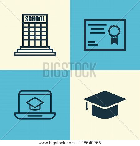 School Icons Set. Collection Of Distance Learning, Graduation, Certificate And Other Elements