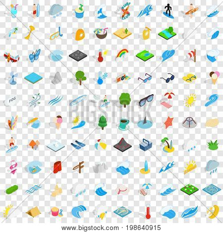 100 water recreation icons set in isometric 3d style for any design vector illustration