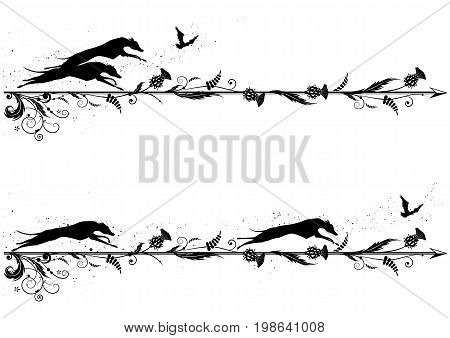 set of vector dividers with dogs riven and thistle in black and white