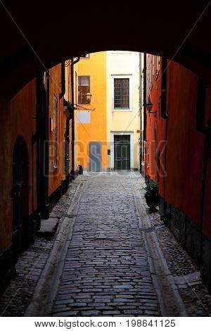Gateway in Old town of Stockholm, Sweden