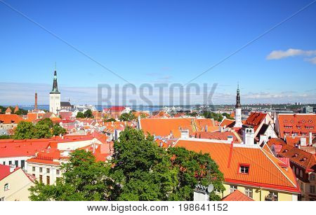 Panoramic view of Old town of Tallin, Estonia