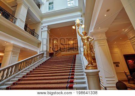 BUDAPEST HUNGARY - JUNE 3 2017: Interior grand staircase inside Corinthia Hotel Budapest known as