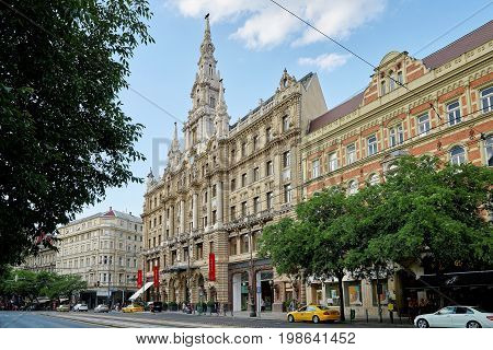 BUDAPEST HUNGARY - JUNE 3 2017: Hotel Boscolo Budapest formerly known as the New York Palace built in 1894 and beautifully restored is home to the famous New York Cafe.