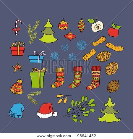 Colorful collection of Christmas and New Year hand drawn clipart on grey background. Vector holiday design elements for greeting card invitation pattern