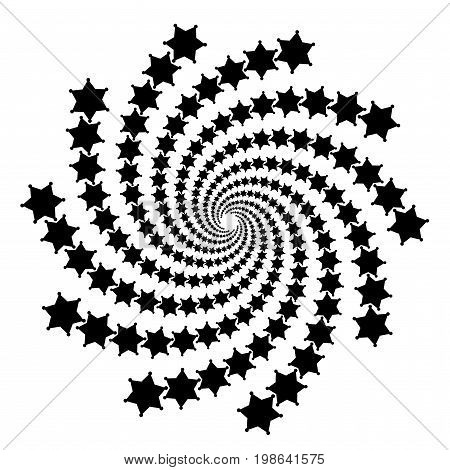 Background, Pattern, Black And White Spiral Pattern. Round Centered Halftone Illustration. Star, Rot