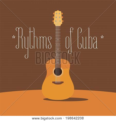 Cuban acoustic guitar vector illustration. Travel to Cuba design element with traditional music instrument