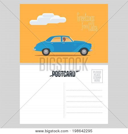 Postcard from Cuba with classic american car vector illustration. Greeting card with template text box sent from Cuba with vintage automobile